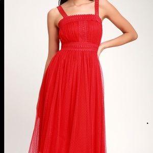 Lulu's forever Love Red Swiss dot sleeveless dress